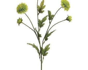 Artificial Flowers - Lime Green Pompon Mum Spray - Silk Flowers, Wedding Flowers, Flower Crown