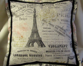 French Country Cottage Paris Eiffel Tower Black Ivory Pink Gold Pillow