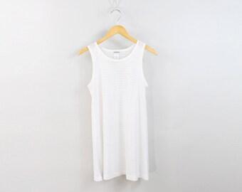 VINTAGE White Mesh Beach Cover Up Dress Short Medium