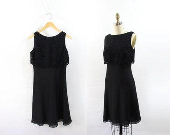 VINTAGE 1990s Black Dress Lace Crop Chiffon