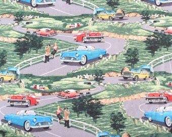 Automobile Fabric Vintage Look Retro Look Fabric Sunday Drive Fabric Cotton Fabric Chevy Fabric Sewing Fabric Craft Supply Quilting Fabric