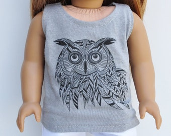 18 inch Doll Clothes - Graphic Tee - Owl, Tank, Top, T-shirt, Graphite, Grey, AG Doll