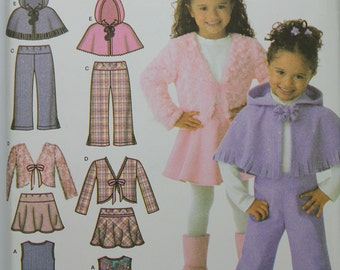 Size 3 4 5 6 7 8 Wardrobe Jumper Skirt Pants Poncho Jacket Hoodie 4384 Simplicity Girl Toddler Child Kids Uncut Sew Sewing Pattern