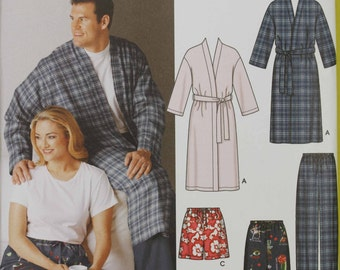 Women Size 6 8 10 12 14 16 Mens 40 42 46 48 50 SImplicity 5314 Pajamas Pjs Night Wear Shorts or Pants Robe Misses Women Uncut Sewing Pattern