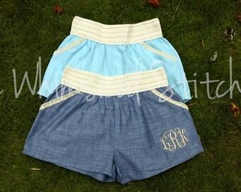 Monogram Crochet Trim Denim Chambray Shorts - Monogrammed Shorts - Personalized Shorts