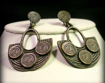 Spiral Dangling Ethnic Earrings