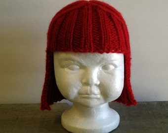 Baby Size Red Hat Hair Knit Wig Baby Wig