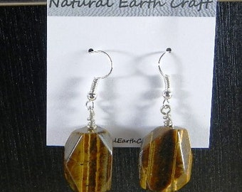 Chunky golden brown tigers eye earrings faceted oblongs semiprecious stone jewelry packaged in a colorful gift bag 2877 A B C