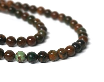 """6mm Green """"Opal"""" Chalcedony Beads, round natural gemstone bead, Full & half strands available  (1116S)"""