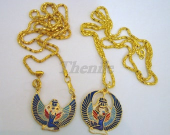 Egyptian Two Colored Winged Isis Holding Scarab Necklace