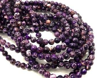 Impression Stone, 6mm, Dark Purple, Gemstone Beads, Round, Smooth, Small, 65pcs, Full-Strand - ID 828-DK