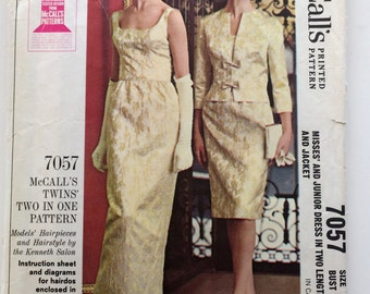 60s McCalls 7057 Evening Sheath Dress, Sleeveless with Jacket Knee or Maxi Mad Men - Size 13 Bust 33