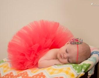 Infant Coral Tutu  - SEWN tutu - NEWBORN tutu -  coral tutu - Baby Tutu -Infant tutu - Photography Tutu - Photo Prop tutu - Infant girl Prop