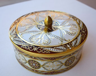 Vintage tin box decorated metal England storage container cookie jar treat box