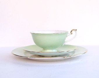 Shelley trio tea cup, saucer and desert plate set of 3 mint fruits bone china