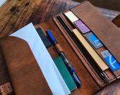 Nola travel wallet, handmade leather travel organizer with 9 pockets & zipper, boarding pass holder, custom wallets and organizer by Aixa