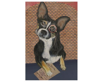 Chihuahua Dog Art Print Wears Vintage Monocle- Pet Artwork