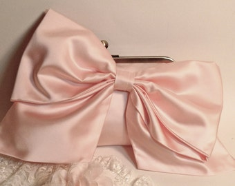 Bridal Clutch or Bridesmaid Clutch Light Pink Satin Bow Clutch