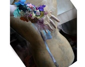 Art to Wear Cuff Hand Embroided BLUES AND... Marie Antoinette Fairy Boho Tribal Silks Doily