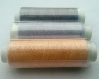 100% Polyester Sewing Thread - Bluey Grey Peach