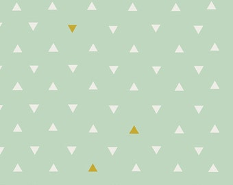 crib sheet, fitted crib sheet, mint triangles and gold crib sheet