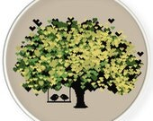 INSTANT DOWNLOAD,Free shippingCounted Cross-Stitch PDF,Love birds kiss on heart tree,valentine's day, wedding,zxxc0614