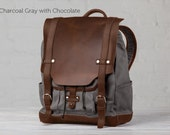 The Medium Leather Backpack - Charcoal Gray with Chocolate