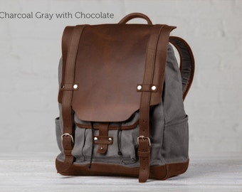 "The 13"" Cascade Canvas Backpack - Charcoal Gray with Chocolate"