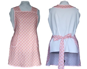Plus Size Apron - Pink Plaid with tiny flowers Full Kitchen Apron Full Figure Apron - Size 3X only