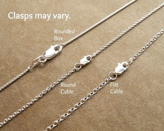 Sterling Silver Chain, Rounded Box, Round Cable, Flat Cable, 925 Sterling Silver, Various Lengths, Ready To Ship