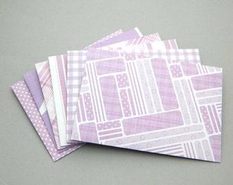 Handmade Paper Envelopes - Set of 6 - Lilac Purple Amethyst Grape White Figure Envelopes - Money Envelopes Party Favor - Gift Card Envelopes