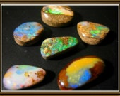 Set of six  Koroit Boulder Opals, oval, triangle ringstones, 36.50 cts.