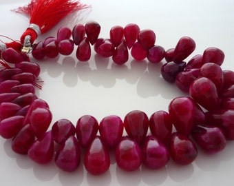 Smooth polished ruby teardrop briolette beads 5-9mm 1/2 stranf