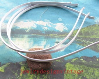 10pcs  5mm width White satin cover Metal hairbands findings