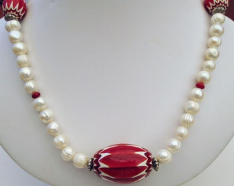 Red & White Chevron and Freshwater Pearl Necklace Handmade