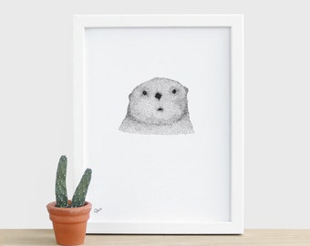 Curious Otter A5 Risograph Print - black and white otter animal nature wildlife risograph A5 print cute sweet