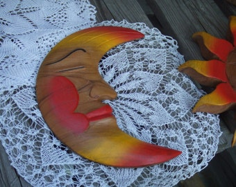 Vintage Hand Carved Moon. Man in the Moon. Wall Hanging Decor.