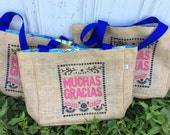 Muchas Gracias Thank You- Destination Custom Wedding Tote Bags - Handmade Wedding Favors or Bridesmaids Gifts