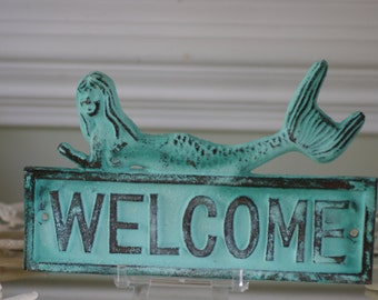 Mermaid Welcome Sign - Cast Iron Sign - Blue/Green Patina