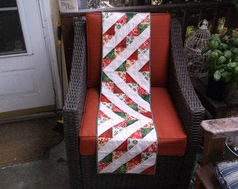 Holiday ribbons table runner quilted batik runner christmas triangles table runner