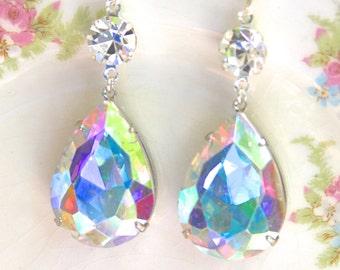 Wedding Earrings - Iridescent Rhinestone Pear Teardrop Dangle Earrings - Large Earrings, Wedding, Bridal, Bridesmaid, Statement Earrings