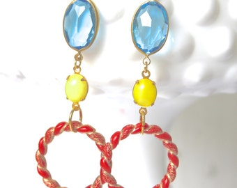 Vintage Coral Orange Yellow Blue Statement Earrings Drop Dangle Earrings - Wedding, Beach, Bridesmaid
