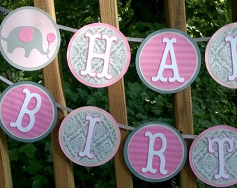 Happy Birthday Banner Elephant Banner Pink & Grey First Birthday Banner Little Peanut Birthday Party Elephant Party Decoration