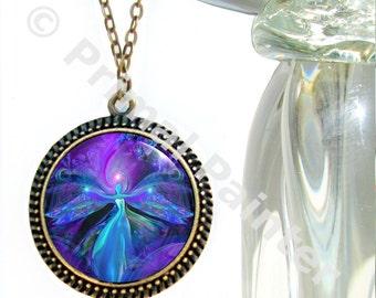 Angel Necklace Purple Jewelry Reiki Energy Chakra Jewelry