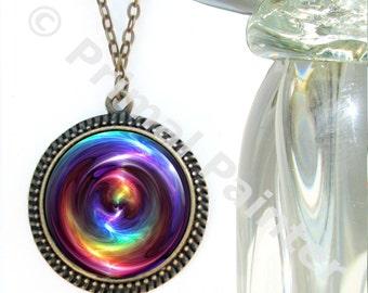 Chakra Jewelry, Rainbow Swirl Art Necklace Reiki Attuned
