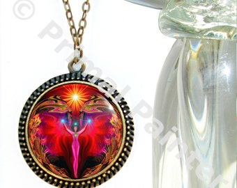 """Red Root Chakra Necklace, Angel Jewelry, Reiki Attuned Pendant Necklace """"Primal Healing"""""""