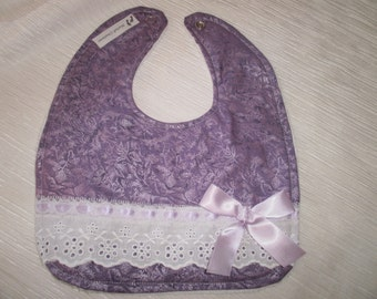 Baby Girl Bib, Newborn Gift, Shower Gift, Toddler, Baby Bib, County, Purple Bib, Chic, Absorbent, Infant, Newborn,  Baby Bib,Lace Bib