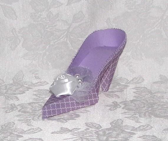 Paper Shoe Keepsake, Lavender and White High Heel Paper Shoe, Original Design-- A Precious Memory Designs
