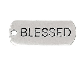 "30pcs. Antique Silver ""Blessed"" Rectangle Charms Pendants - 21mm X 8mm"