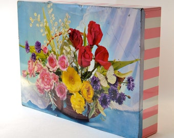 VINTAGE BISCUIT TIN with roses and candy stripes - large midcentury box by Carr & Co - pink white flowers butterfly lily-of-the-valley